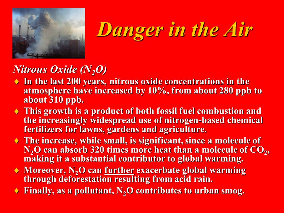 Danger in the Air Nitrous Oxide (N 2 O)  In the last 200 years, nitrous oxide concentrations in the atmosphere have increased by 10%, from about 280 ppb to about 310 ppb.