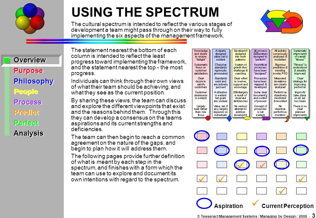 © Tesseract Management Systems / Managing by Design / 2006 - 3 Overview Purpose Philosophy People Process Predict Perfect Analysis Overview Purpose Ph