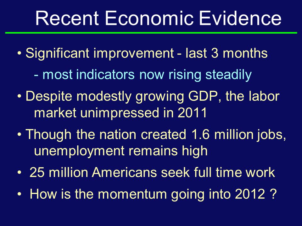 Recent Economic Evidence Significant improvement - last 3 months - most indicators now rising steadily Despite modestly growing GDP, the labor market unimpressed in 2011 Though the nation created 1.6 million jobs, unemployment remains high 25 million Americans seek full time work How is the momentum going into 2012