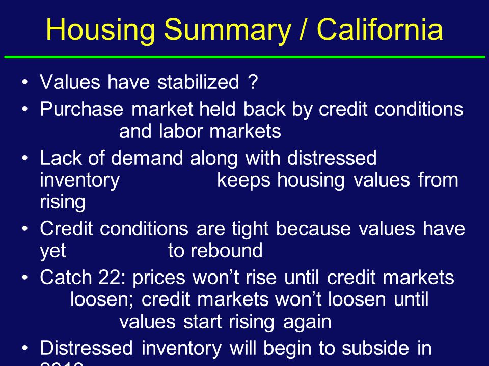 Housing Summary / California Values have stabilized .