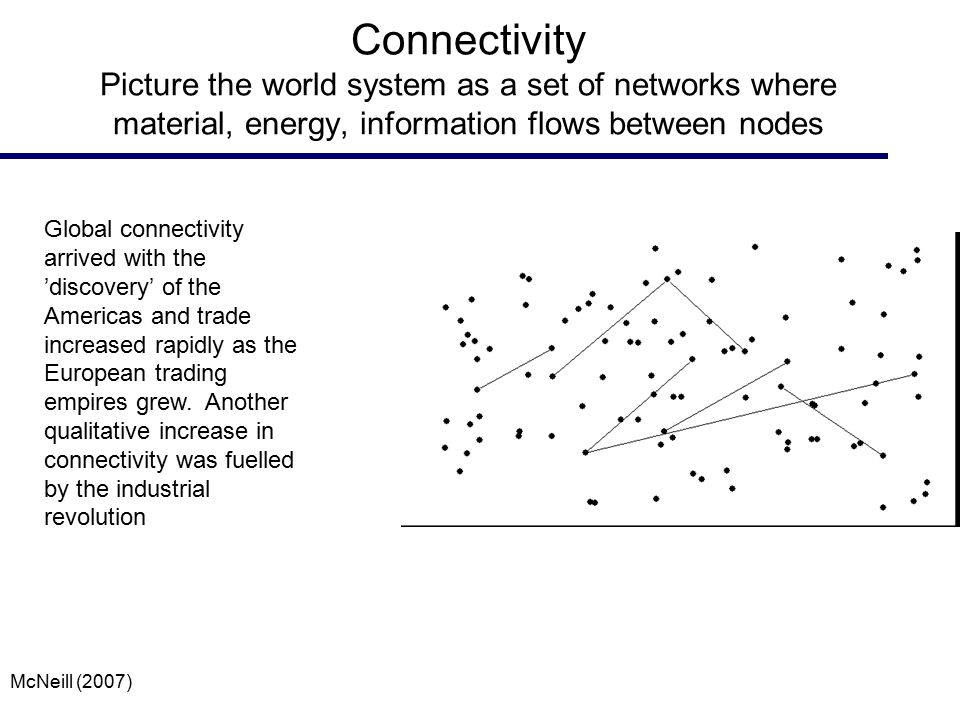 Connectivity Picture the world system as a set of networks where material, energy, information flows between nodes Global connectivity arrived with th