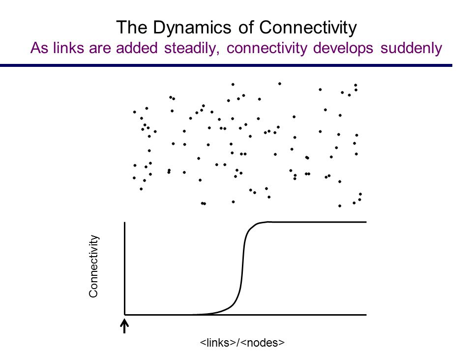 The Dynamics of Connectivity As links are added steadily, connectivity develops suddenly Connectivity /