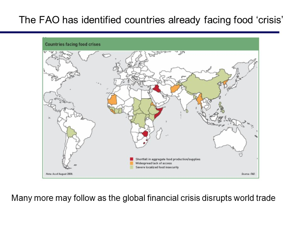 The FAO has identified countries already facing food 'crisis' Many more may follow as the global financial crisis disrupts world trade