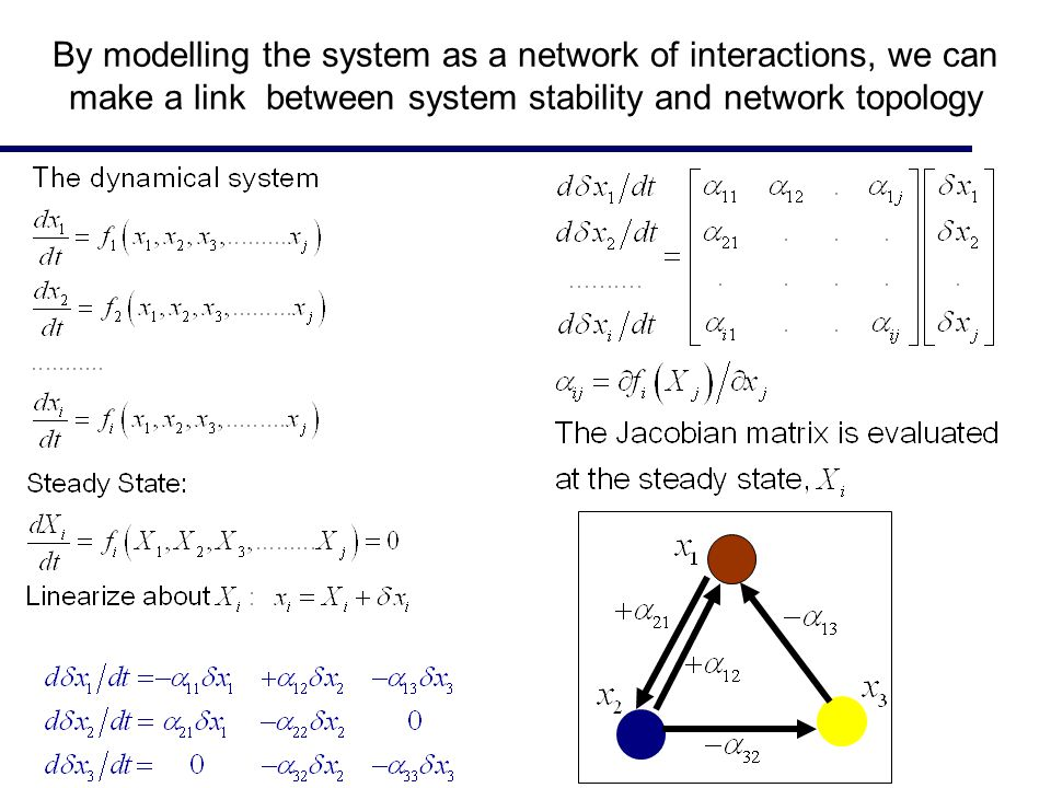 By modelling the system as a network of interactions, we can make a link between system stability and network topology