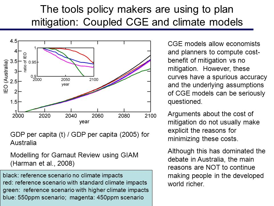 The tools policy makers are using to plan mitigation: Coupled CGE and climate models CGE models allow economists and planners to compute cost- benefit of mitigation vs no mitigation.