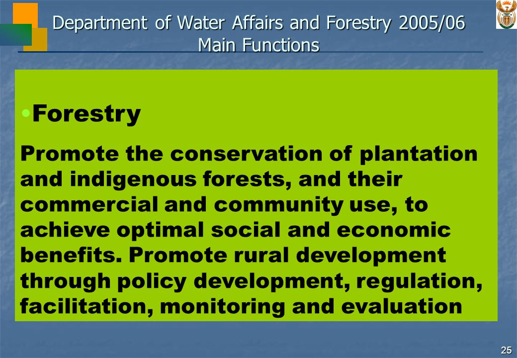 25 Department of Water Affairs and Forestry 2005/06 Main Functions Forestry Promote the conservation of plantation and indigenous forests, and their commercial and community use, to achieve optimal social and economic benefits.