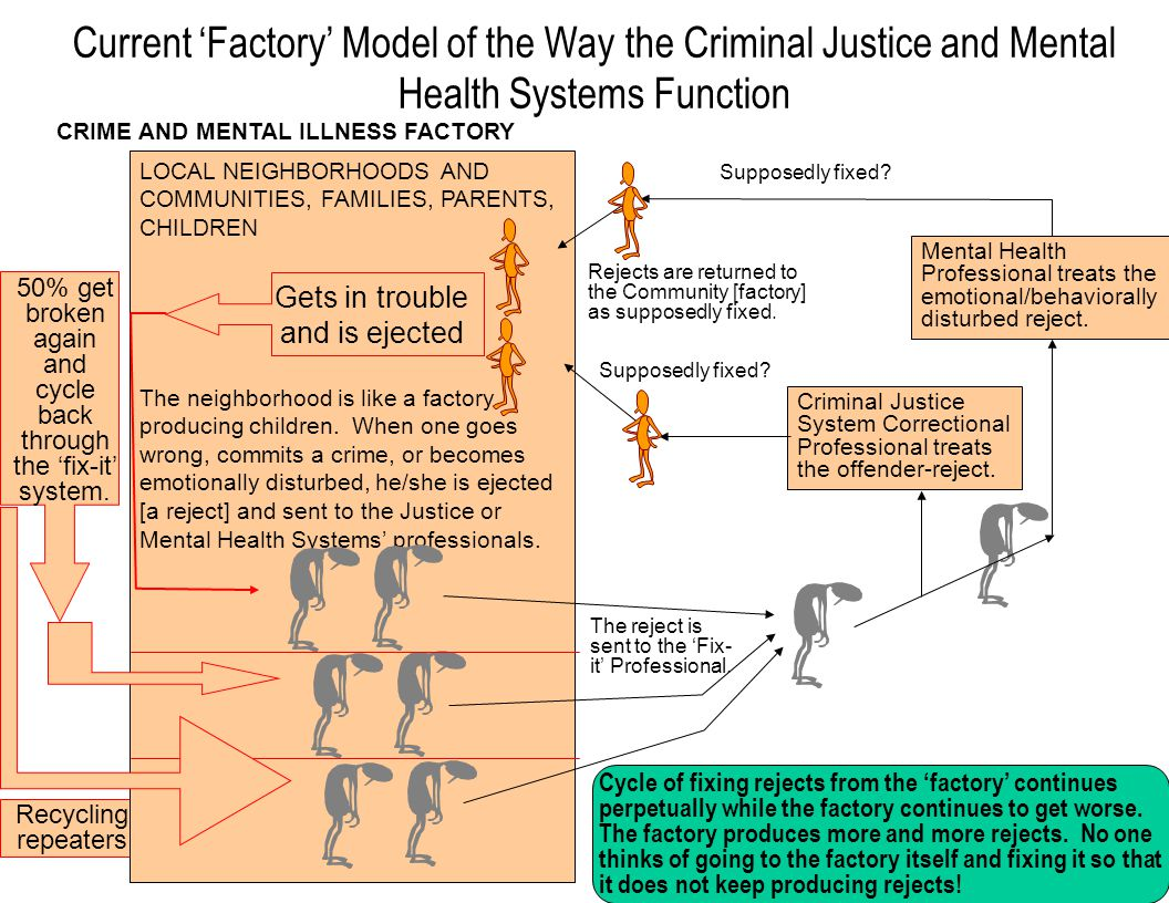 Current 'Factory' Model of the Way the Criminal Justice and Mental Health Systems Function CRIME AND MENTAL ILLNESS FACTORY 50% get broken again and cycle back through the 'fix-it' system.