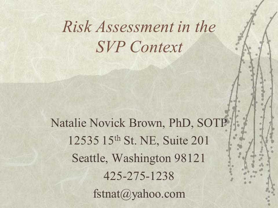 Risk Assessment in the SVP Context Natalie Novick Brown, PhD, SOTP 12535 15 th St. NE, Suite 201 Seattle, Washington 98121 425-275-1238 fstnat@yahoo.c