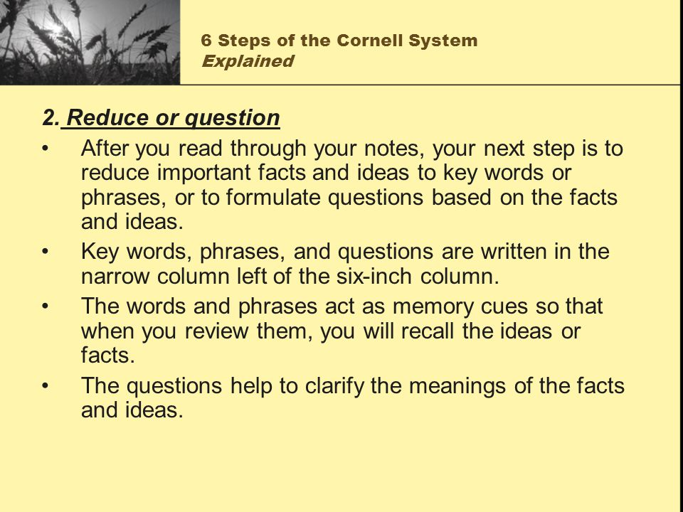 6 Steps of the Cornell System Explained 2. Reduce or question After you read through your notes, your next step is to reduce important facts and ideas