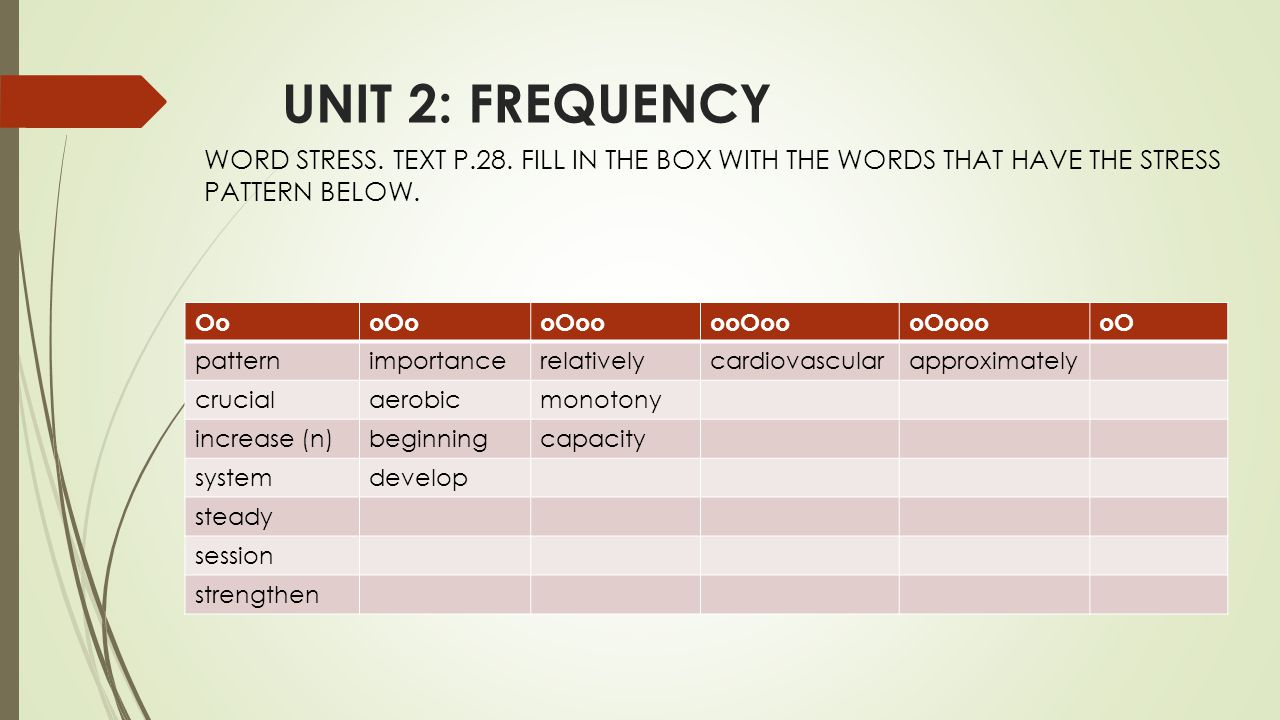 UNIT 2: FREQUENCY WORD STRESS. TEXT P.28.
