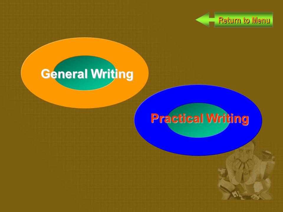 Return to Menu Return to Menu General Writing Practical Writing