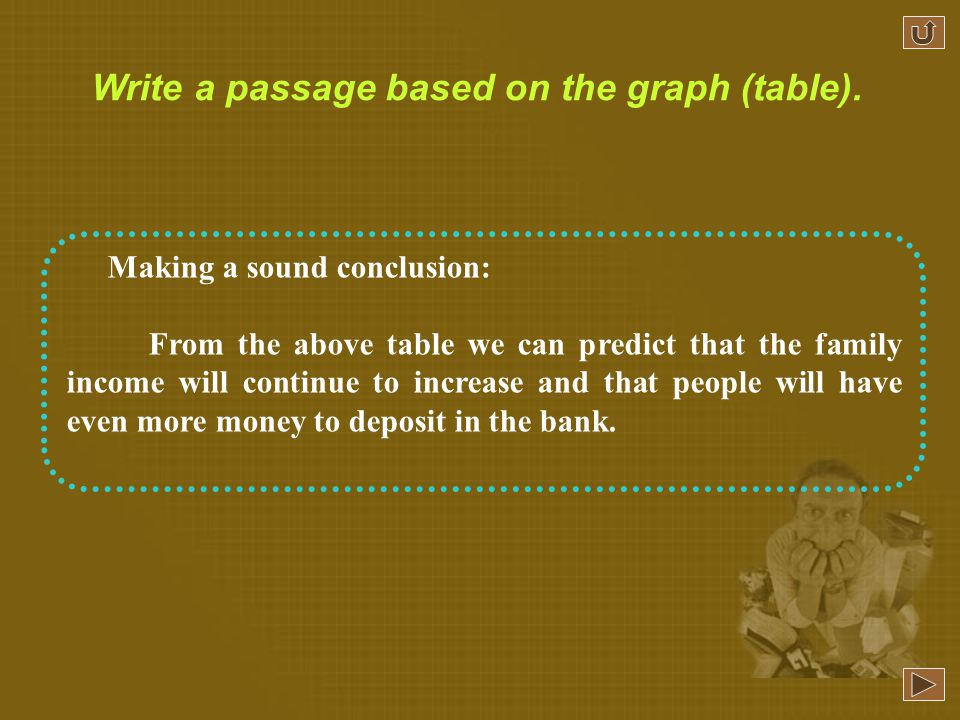 Making a sound conclusion: From the above table we can predict that the family income will continue to increase and that people will have even more money to deposit in the bank.