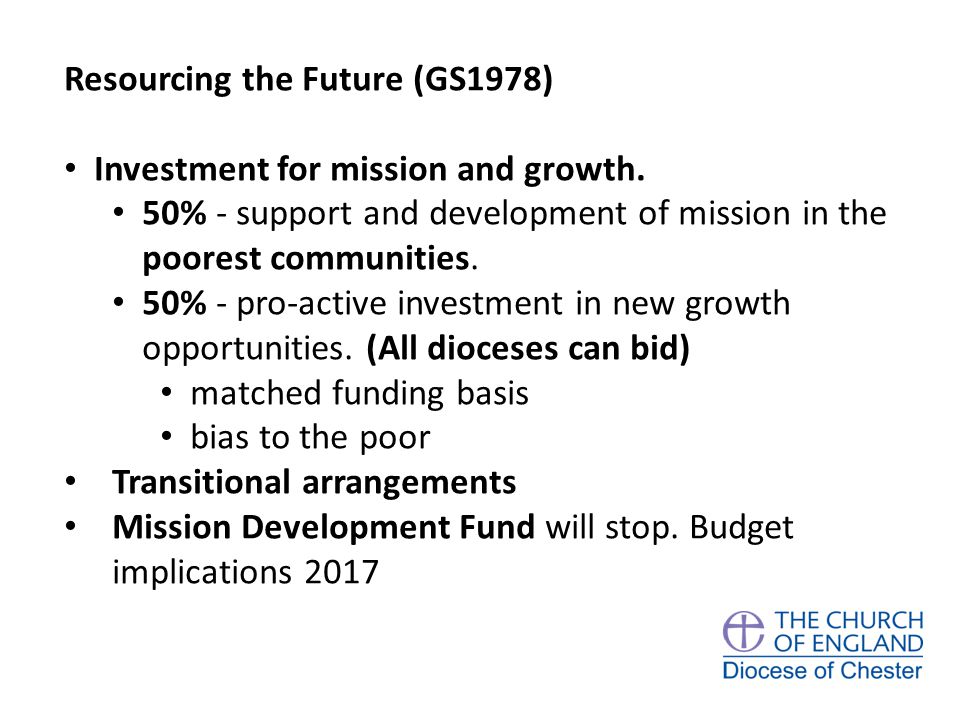 Resourcing the Future (GS1978) Investment for mission and growth.