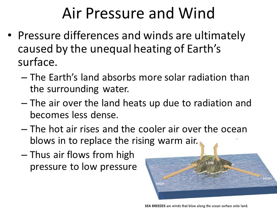 Air Pressure and Wind Pressure differences and winds are ultimately caused by the unequal heating of Earth's surface. – The Earth's land absorbs more