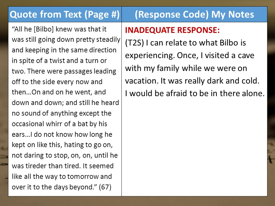 Quote from Text (Page #)(Response Code) My Notes All he [Bilbo] knew was that it was still going down pretty steadily and keeping in the same direction in spite of a twist and a turn or two.