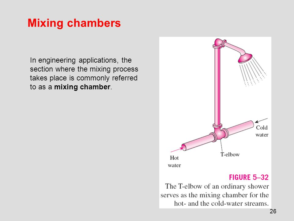 26 Mixing chambers In engineering applications, the section where the mixing process takes place is commonly referred to as a mixing chamber.