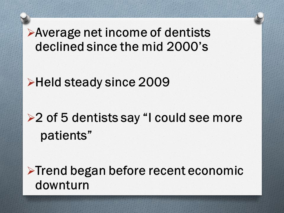 """ Average net income of dentists declined since the mid 2000's  Held steady since 2009  2 of 5 dentists say """"I could see more patients""""  Trend bega"""