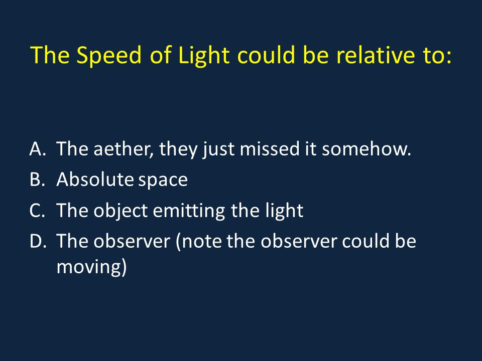 The Speed of Light could be relative to: A.The aether, they just missed it somehow.
