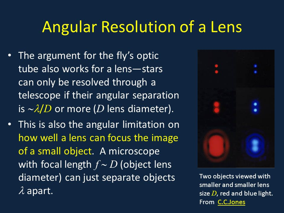 Angular Resolution of a Lens The argument for the fly's optic tube also works for a lens—stars can only be resolved through a telescope if their angular separation is  / D or more ( D lens diameter).