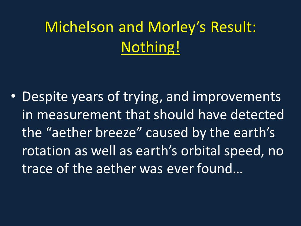 Michelson and Morley's Result: Nothing.