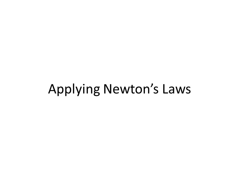 Applying Newton's Laws