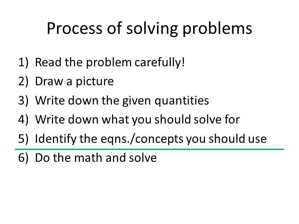 Process of solving problems 1)Read the problem carefully.