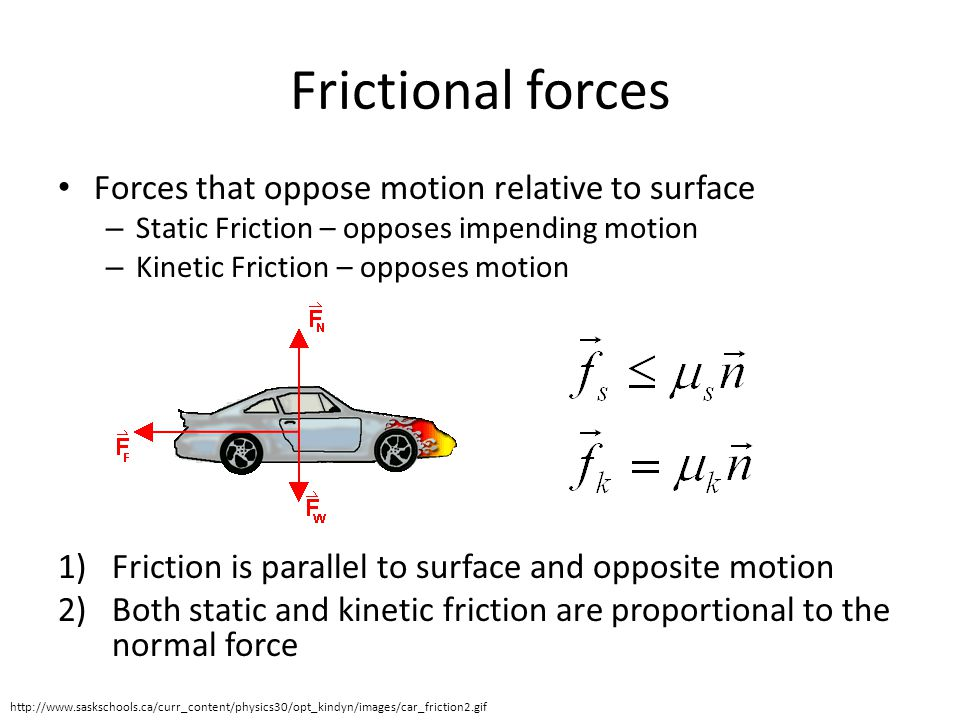 Frictional forces Forces that oppose motion relative to surface – Static Friction – opposes impending motion – Kinetic Friction – opposes motion 1)Friction is parallel to surface and opposite motion 2)Both static and kinetic friction are proportional to the normal force http://www.saskschools.ca/curr_content/physics30/opt_kindyn/images/car_friction2.gif