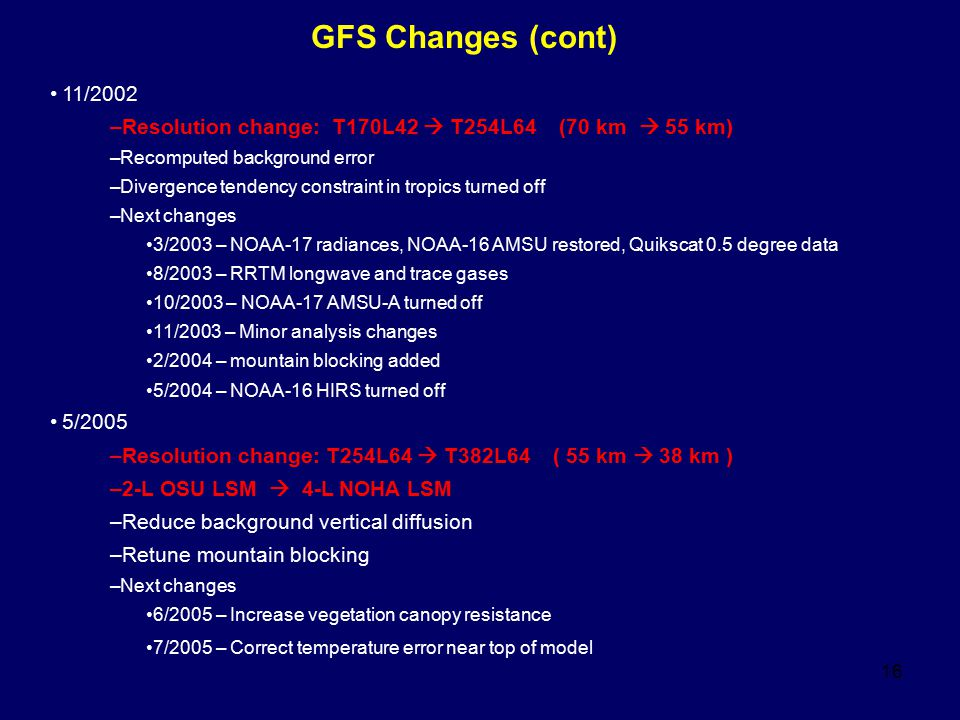 16 GFS Changes (cont) 11/2002 –Resolution change: T170L42  T254L64 (70 km  55 km) –Recomputed background error –Divergence tendency constraint in tropics turned off –Next changes 3/2003 – NOAA-17 radiances, NOAA-16 AMSU restored, Quikscat 0.5 degree data 8/2003 – RRTM longwave and trace gases 10/2003 – NOAA-17 AMSU-A turned off 11/2003 – Minor analysis changes 2/2004 – mountain blocking added 5/2004 – NOAA-16 HIRS turned off 5/2005 –Resolution change: T254L64  T382L64 ( 55 km  38 km ) –2-L OSU LSM  4-L NOHA LSM –Reduce background vertical diffusion –Retune mountain blocking –Next changes 6/2005 – Increase vegetation canopy resistance 7/2005 – Correct temperature error near top of model