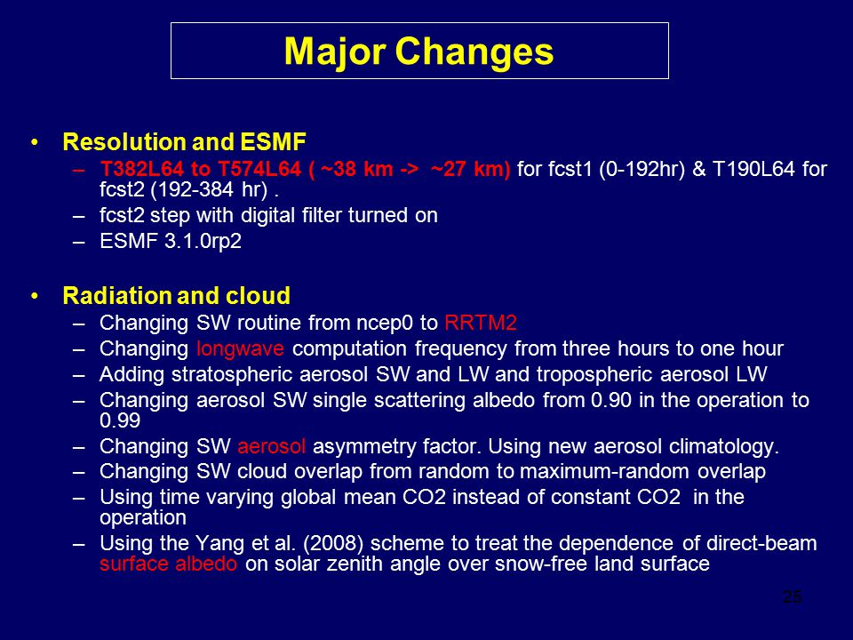 25 Major Changes Resolution and ESMF –T382L64 to T574L64 ( ~38 km -> ~27 km) for fcst1 (0-192hr) & T190L64 for fcst2 (192-384 hr). –fcst2 step with di