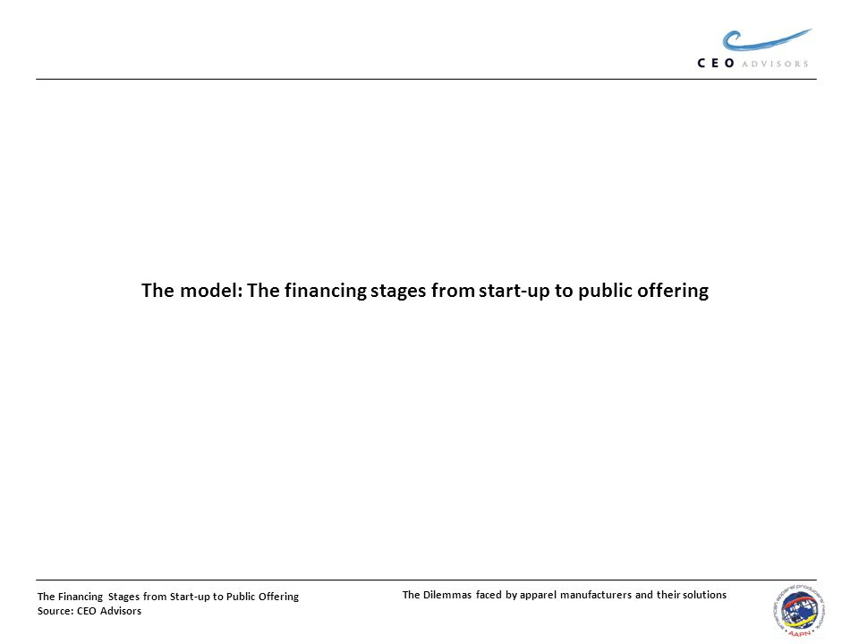 The Financing Stages from Start-up to Public Offering Source: CEO Advisors The model: The financing stages from start-up to public offering The Dilemmas faced by apparel manufacturers and their solutions