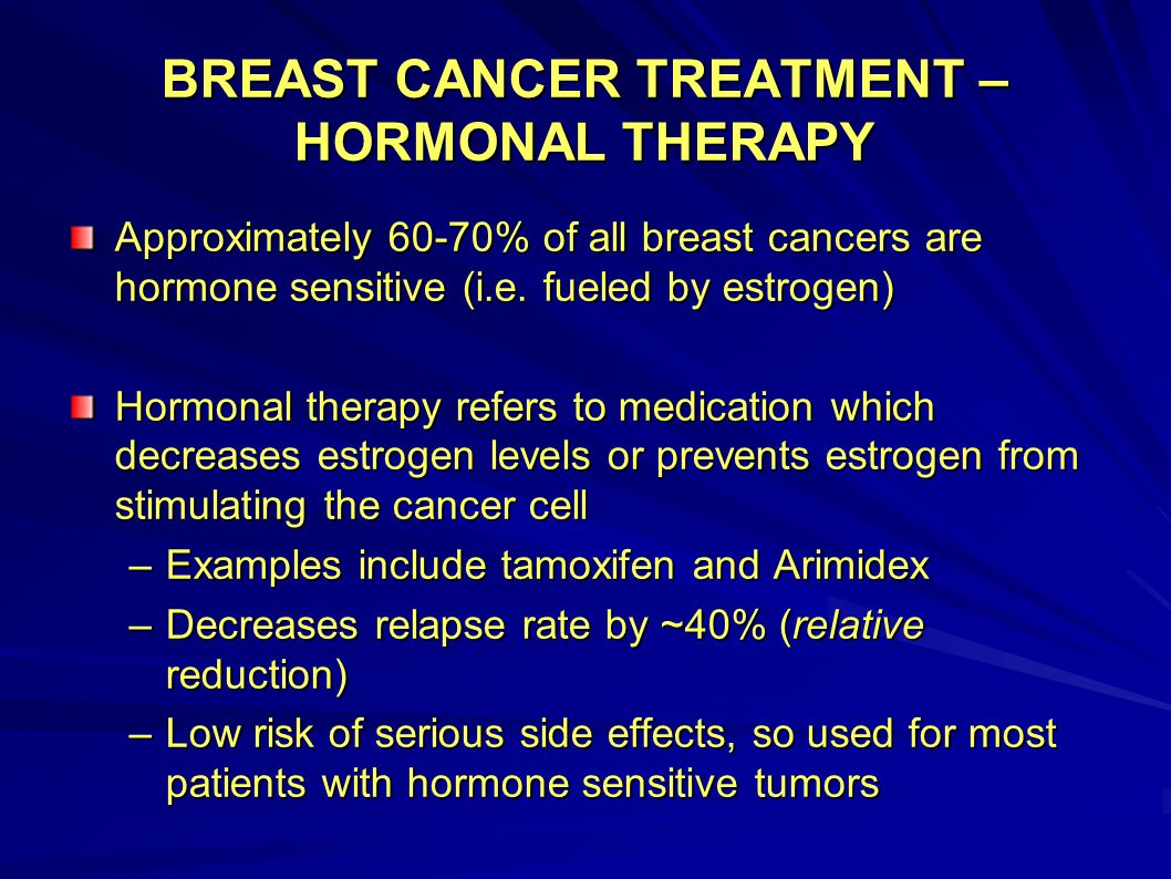 BREAST CANCER TREATMENT – HORMONAL THERAPY Approximately 60-70% of all breast cancers are hormone sensitive (i.e. fueled by estrogen) Hormonal therapy