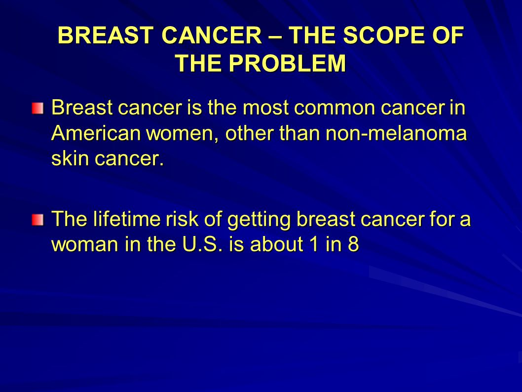 BREAST CANCER – THE SCOPE OF THE PROBLEM Breast cancer causes more deaths among American women than any other cancer except for lung cancer Approximately 200,000 women (and approximately 2000 men) are diagnosed with breast cancer in the U.S.