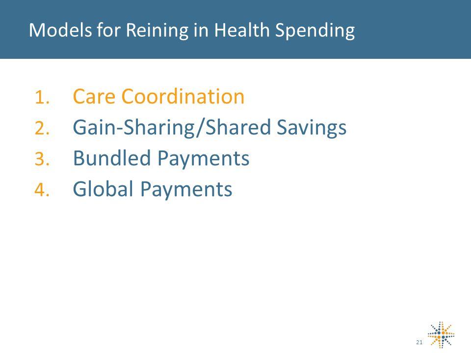 1. Care Coordination 2. Gain-Sharing/Shared Savings 3.