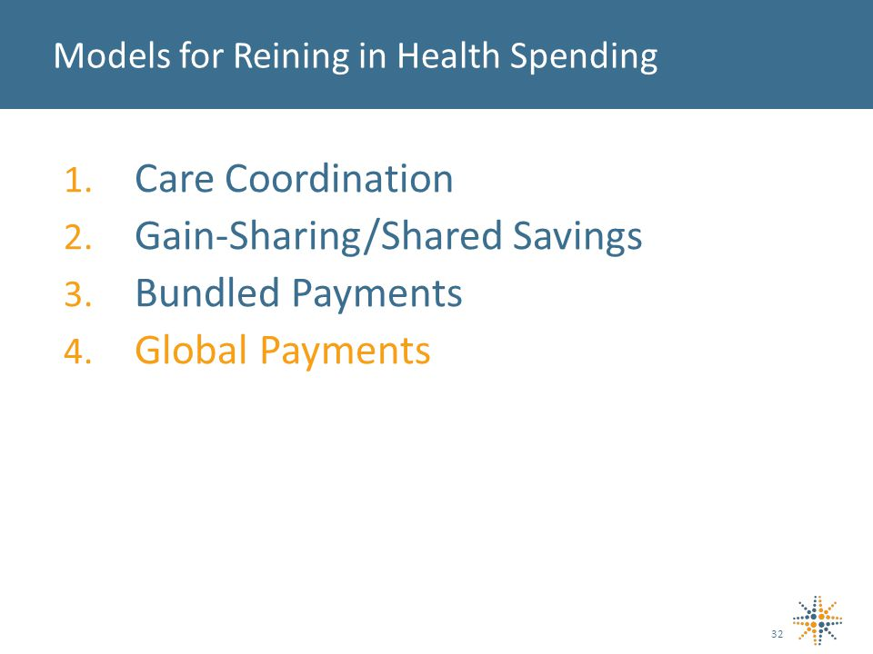 1. Care Coordination 2. Gain-Sharing/Shared Savings 3. Bundled Payments 4. Global Payments Models for Reining in Health Spending 32