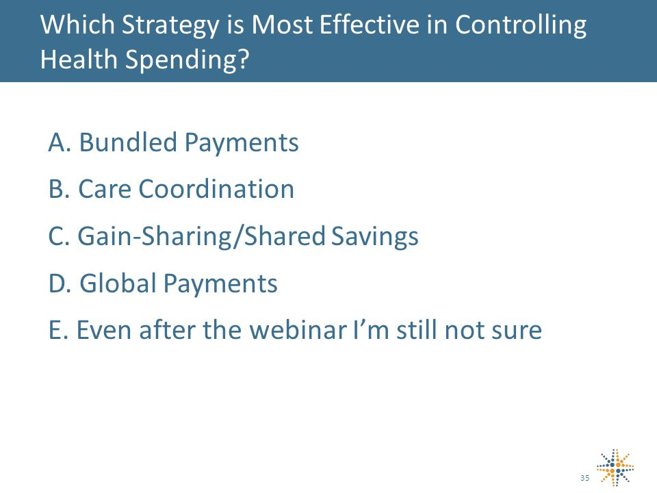 A. Bundled Payments B. Care Coordination C. Gain-Sharing/Shared Savings D.