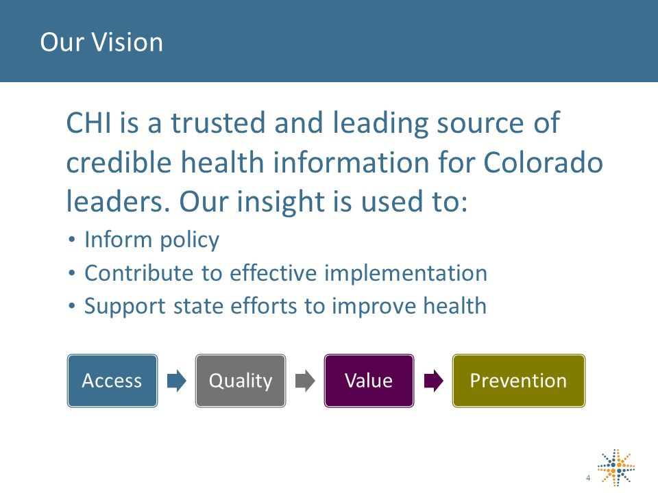 CHI is a trusted and leading source of credible health information for Colorado leaders.