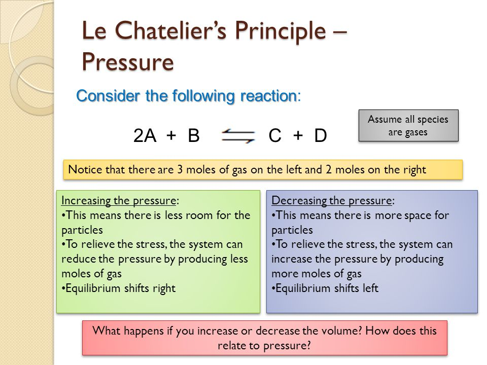 Le Chatelier's Principle – Pressure Consider the following reaction Consider the following reaction: 2A + B C + D Increasing the pressure: This means