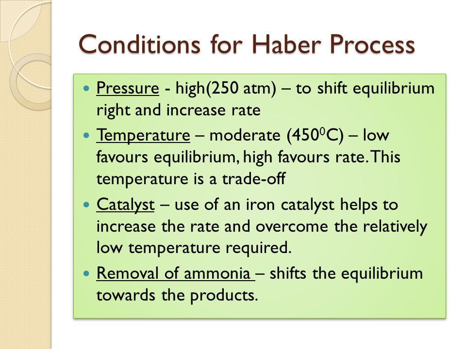 Conditions for Haber Process Pressure - high(250 atm) – to shift equilibrium right and increase rate Temperature – moderate (450 0 C) – low favours eq