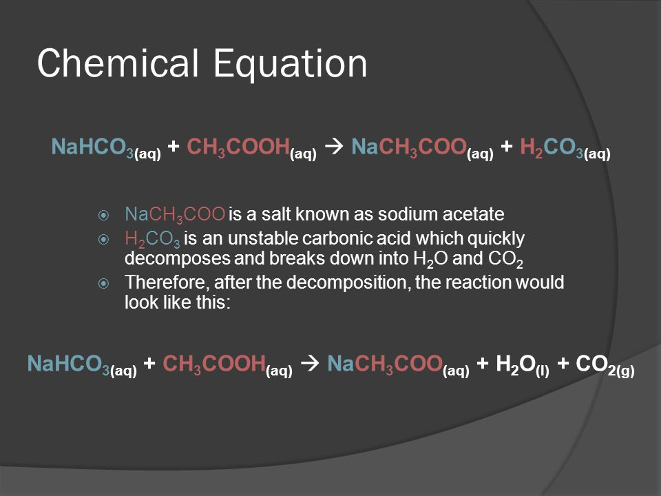 Chemical Equation  NaCH 3 COO is a salt known as sodium acetate  H 2 CO 3 is an unstable carbonic acid which quickly decomposes and breaks down into H 2 O and CO 2  Therefore, after the decomposition, the reaction would look like this: NaHCO 3(aq) + CH 3 COOH (aq)  NaCH 3 COO (aq) + H 2 CO 3(aq) NaHCO 3(aq) + CH 3 COOH (aq)  NaCH 3 COO (aq) + H 2 O (l) + CO 2(g)