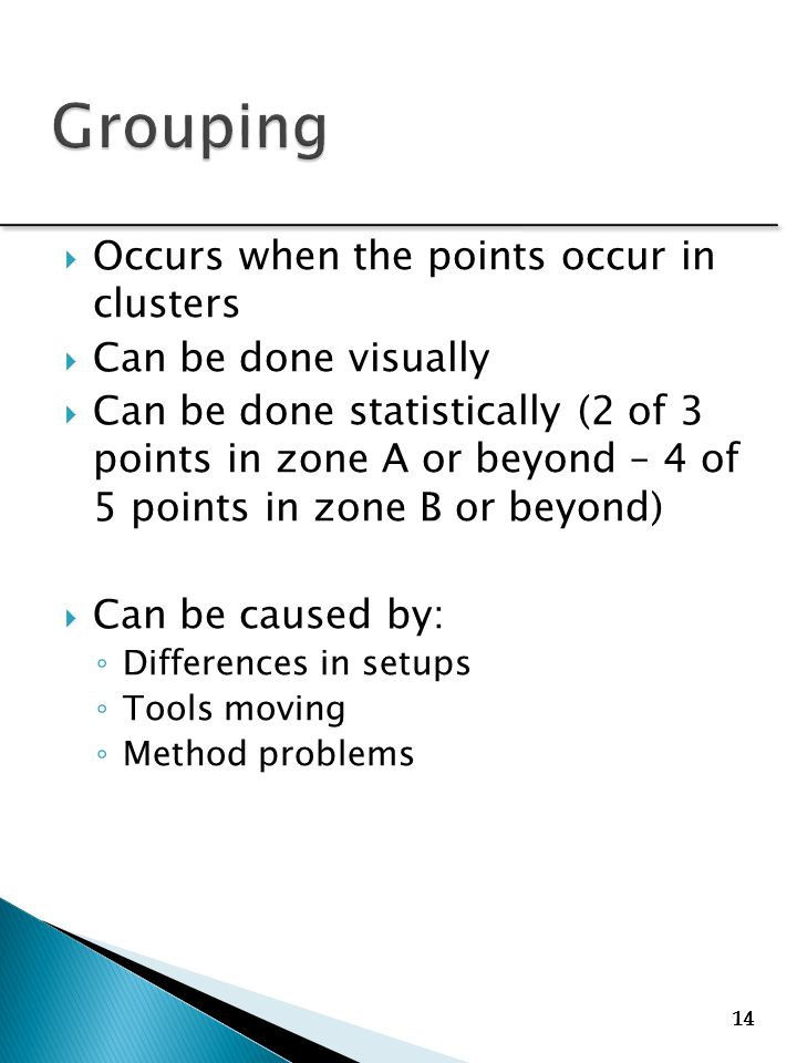 14  Occurs when the points occur in clusters  Can be done visually  Can be done statistically (2 of 3 points in zone A or beyond – 4 of 5 points in zone B or beyond)  Can be caused by: ◦ Differences in setups ◦ Tools moving ◦ Method problems