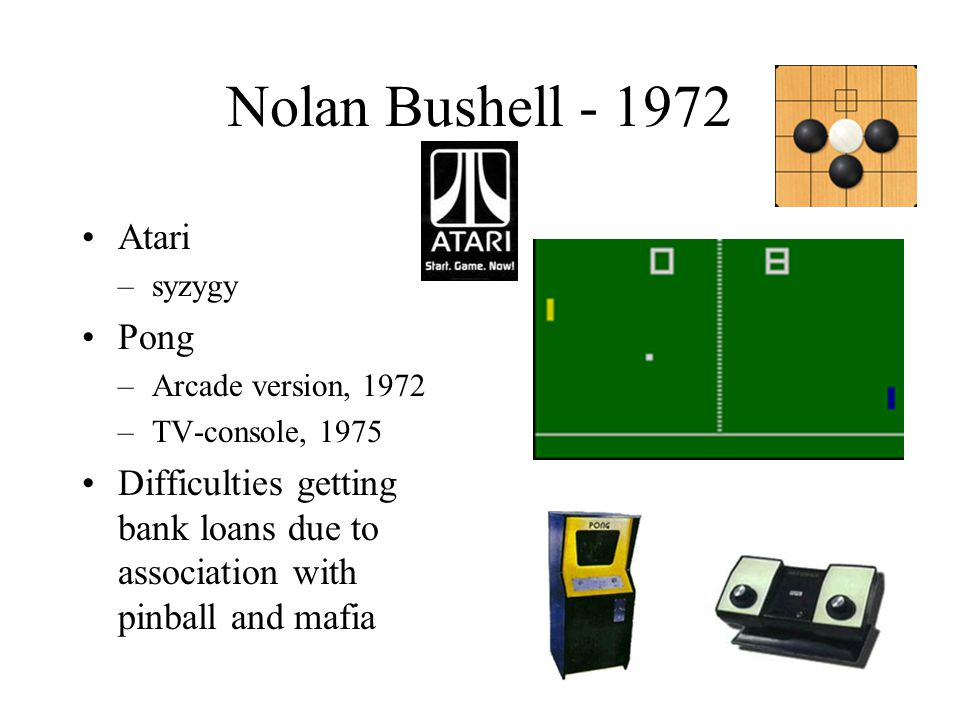 Nolan Bushell - 1972 Atari –syzygy Pong –Arcade version, 1972 –TV-console, 1975 Difficulties getting bank loans due to association with pinball and mafia