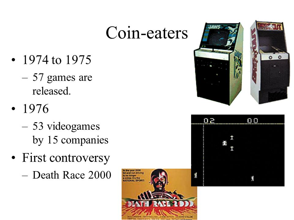 Coin-eaters 1974 to 1975 –57 games are released. 1976 –53 videogames by 15 companies First controversy –Death Race 2000