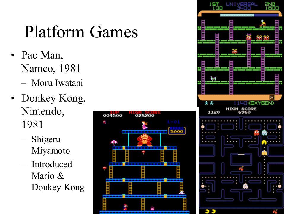 Platform Games Pac-Man, Namco, 1981 –Moru Iwatani Donkey Kong, Nintendo, 1981 –Shigeru Miyamoto –Introduced Mario & Donkey Kong