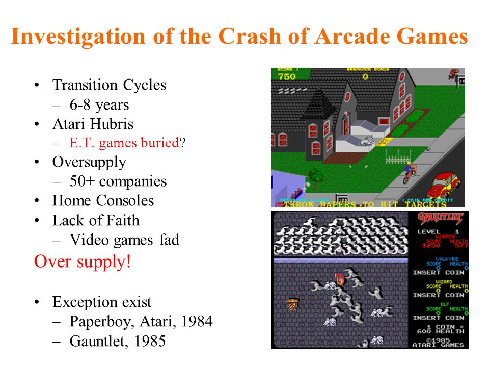 Investigation of the Crash of Arcade Games Transition Cycles –6-8 years Atari Hubris –E.T.