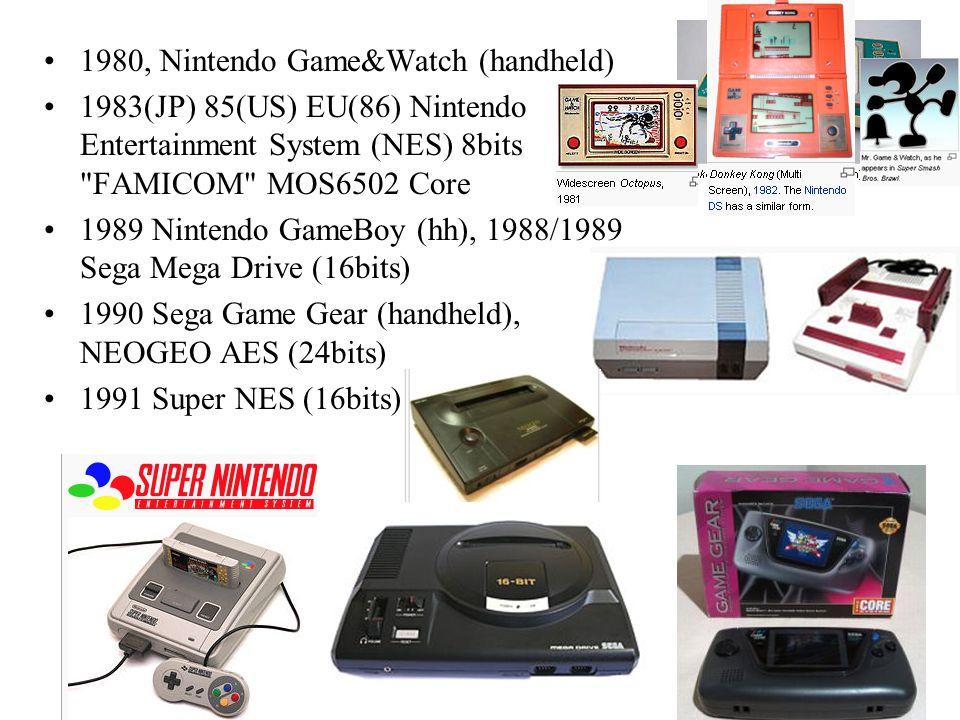 1980, Nintendo Game&Watch (handheld) 1983(JP) 85(US) EU(86) Nintendo Entertainment System (NES) 8bits