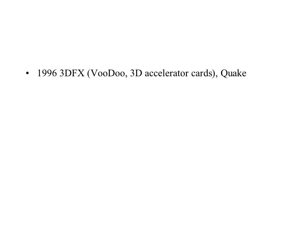 1996 3DFX (VooDoo, 3D accelerator cards), Quake