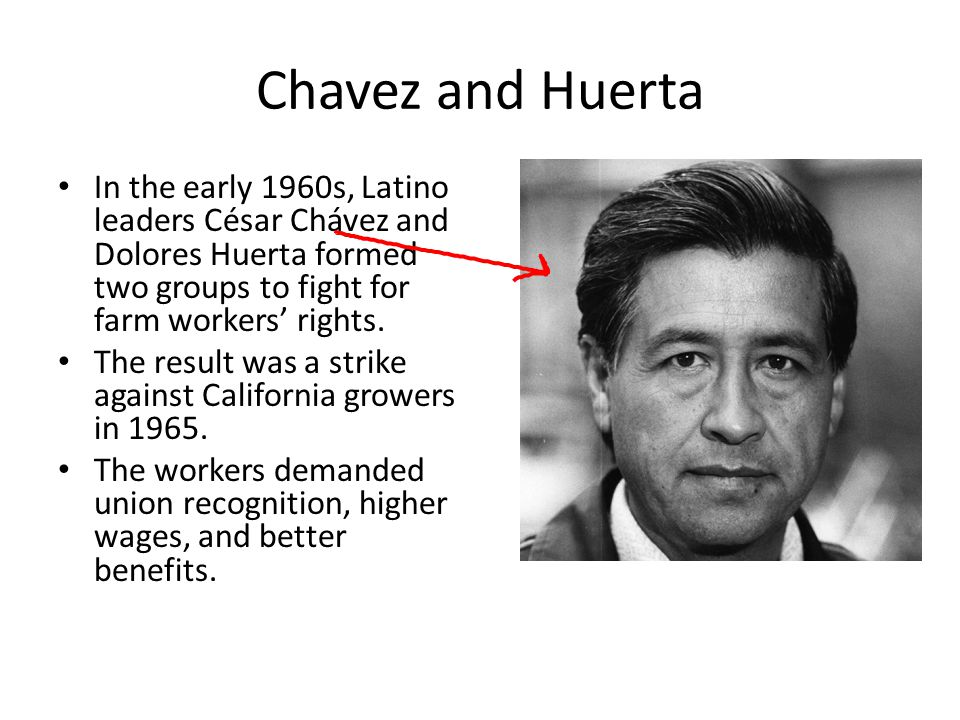 Chavez and Huerta In the early 1960s, Latino leaders César Chávez and Dolores Huerta formed two groups to fight for farm workers' rights. The result w