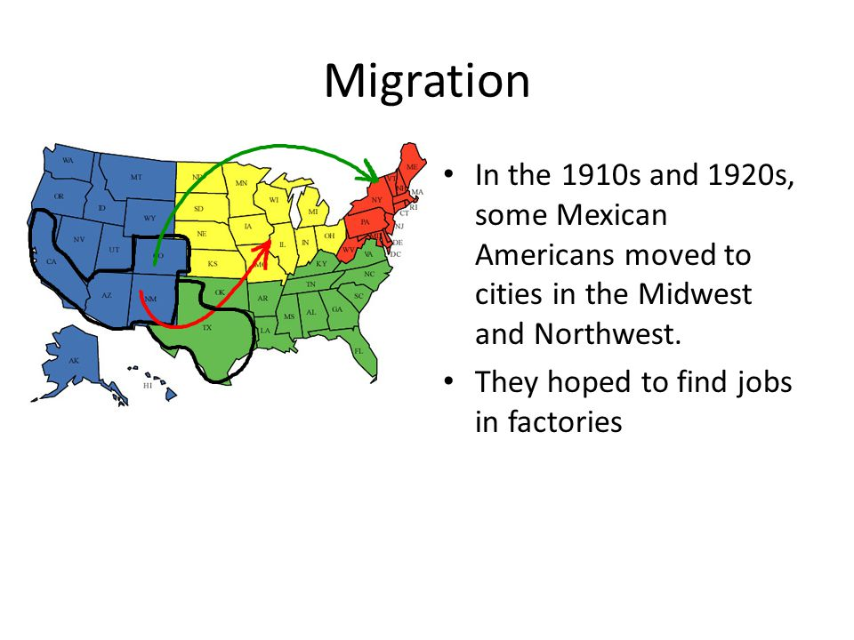 Migration In the 1910s and 1920s, some Mexican Americans moved to cities in the Midwest and Northwest. They hoped to find jobs in factories