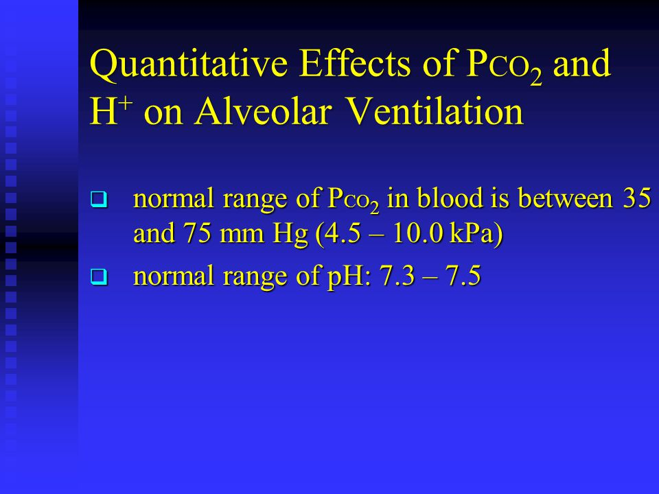 Quantitative Effects of P CO 2 and H + on Alveolar Ventilation  normal range of P CO 2 in blood is between 35 and 75 mm Hg (4.5 – 10.0 kPa)  normal range of pH: 7.3 – 7.5