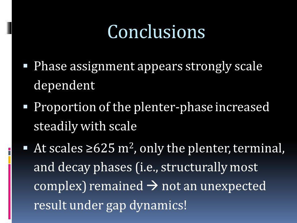 Conclusions  Phase assignment appears strongly scale dependent  Proportion of the plenter-phase increased steadily with scale  At scales ≥625 m 2, only the plenter, terminal, and decay phases (i.e., structurally most complex) remained  not an unexpected result under gap dynamics!